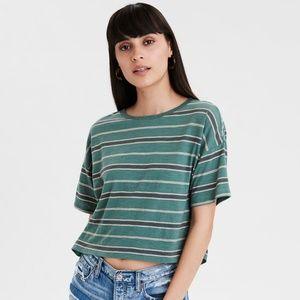 AE - Striped Boxy Crop T-Shirt/ Green/ M